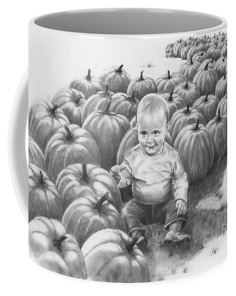 Charity Coffee Mug featuring the drawing Little Pumpkin by Murphy Elliott
