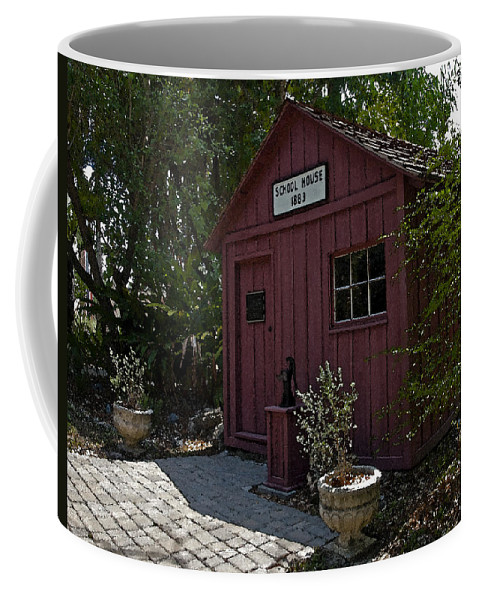 Little Coffee Mug featuring the painting Little Red Schoolhouse Four by Allan Hughes