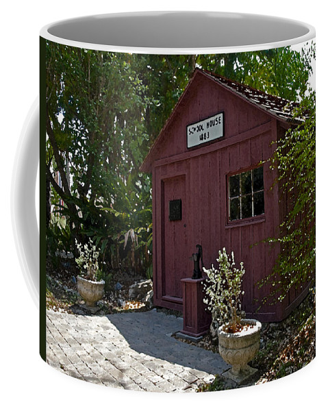Little Coffee Mug featuring the painting Little Red Schoolhouse Three by Allan Hughes