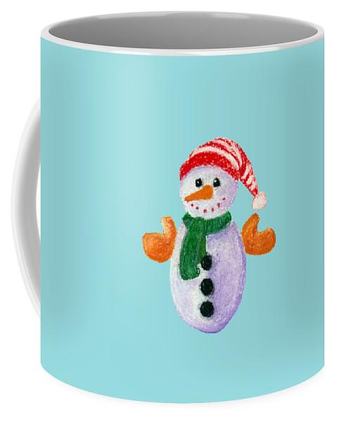 Decorative Coffee Mug featuring the painting Little Snowman by Anastasiya Malakhova