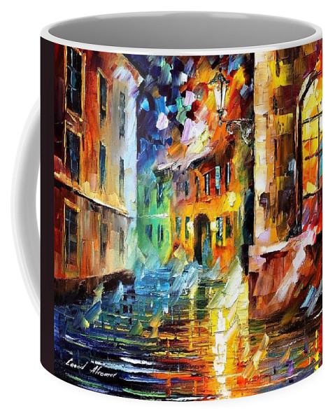 Art Gallery Coffee Mug featuring the painting Little Street - Palette Knife Oil Painting On Canvas By Leonid Afremov by Leonid Afremov
