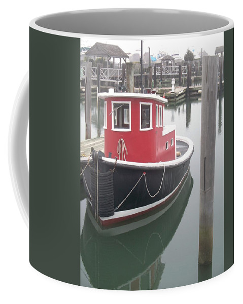 Tugboat Coffee Mug featuring the painting Little Tug by Eric Schiabor