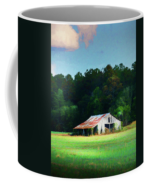 Barn Coffee Mug featuring the photograph Little White Barn by Marvin Spates