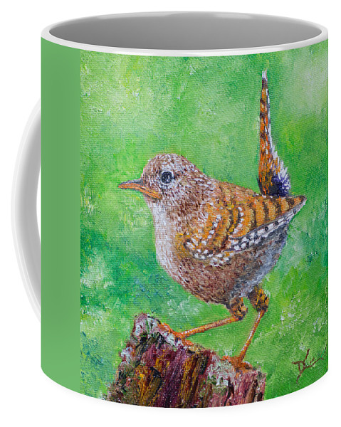 Bird Coffee Mug featuring the painting Little Wren by Dee Carpenter
