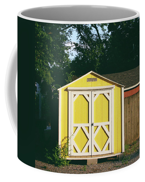 Barn Coffee Mug featuring the photograph Little Yellow Barn- By Linda Woods by Linda Woods