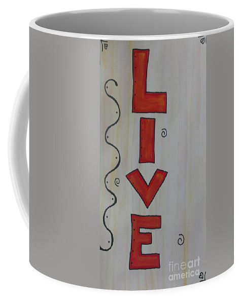 Live Coffee Mug featuring the mixed media Live Acrylic Watercolor by LKB Art and Photography