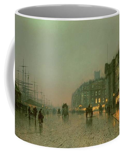 Liverpool Docks From Wapping Coffee Mug featuring the painting Liverpool Docks From Wapping by John Atkinson Grimshaw