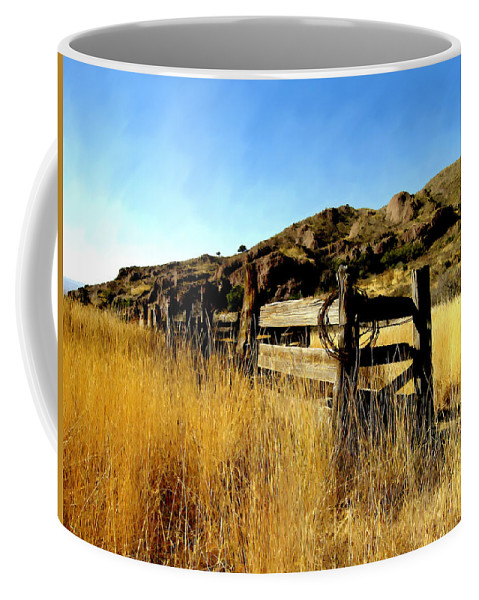 Southwestern Coffee Mug featuring the photograph Livery Fence At Dripping Springs by Kurt Van Wagner