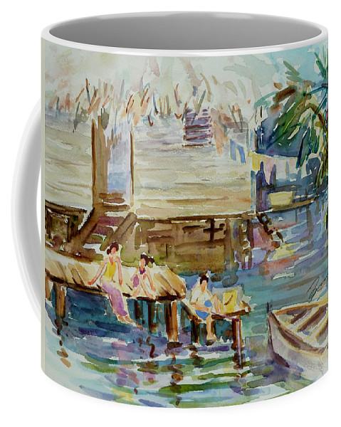 Landscape Coffee Mug featuring the painting Living On The Water by Xueling Zou