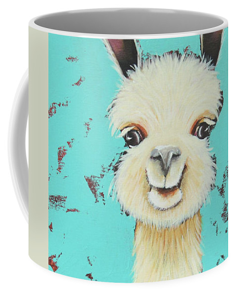 Meet Sue Coffee Mug featuring the painting Llama Sue by Lucia Stewart