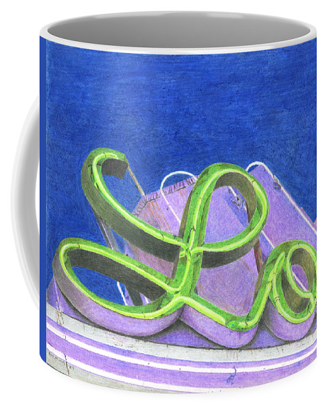Neon Sign Coffee Mug featuring the drawing Lo by Rob De Vries