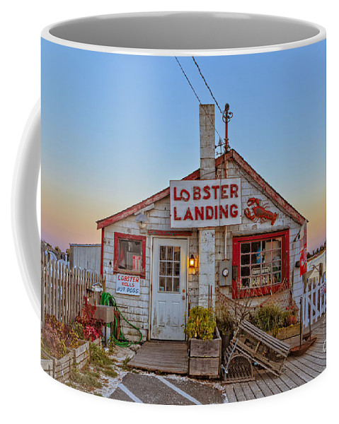 Lobster Coffee Mug featuring the photograph Lobster Landing Sunset by Edward Fielding