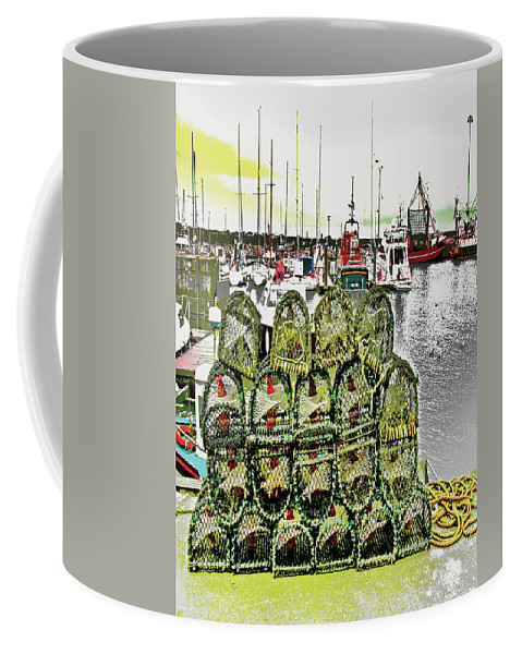 Boats Coffee Mug featuring the digital art Lobster Pots Kilmore Quay, Wexford, Ireland, Poster Effect 1a by Zsuzsanna Szabo