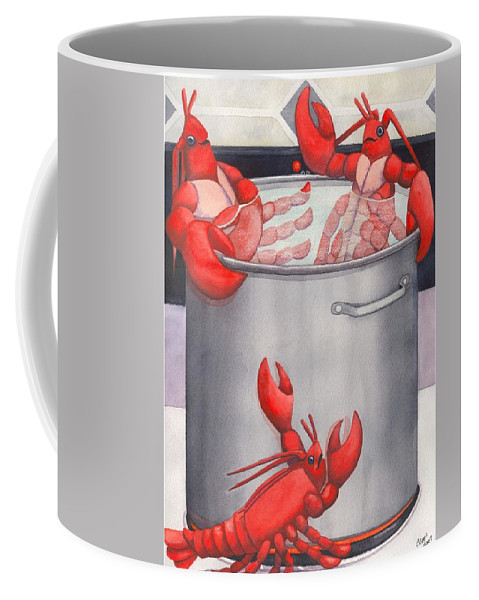 Lobsters Coffee Mug featuring the painting Lobster Spa by Catherine G McElroy