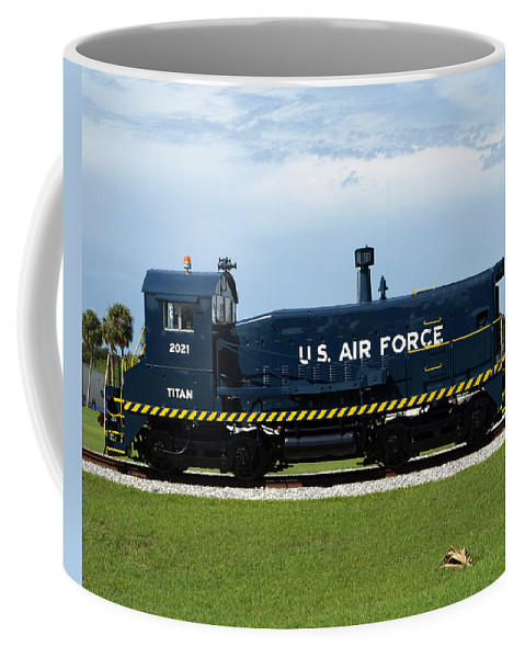 Airforce; Air Force; Air; Force; U.s.; Locomotive; Engine; Rail; Road; Railroad; Railway; Train; Gro Coffee Mug featuring the photograph Locomotive For Titan Rockets At Cape Canaveral In Florida by Allan Hughes