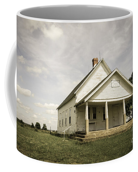 Aged Coffee Mug featuring the photograph Locust Prairie One Room School Aged by Jennifer White