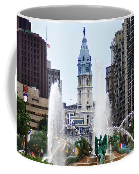 Fountain Coffee Mug featuring the photograph Logan Circle Fountain With City Hall In Backround by Bill Cannon