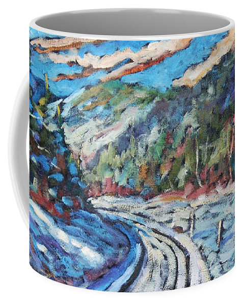 Loggers Coffee Mug featuring the painting Loggers Road by Richard T Pranke