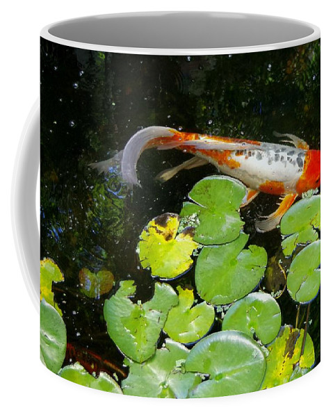 Koi Coffee Mug featuring the photograph Loi With Lily Pads C by Phyllis Spoor