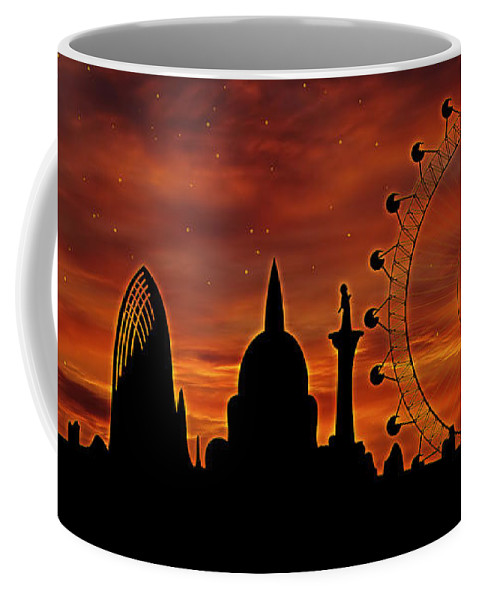 London Coffee Mug featuring the digital art London Skyline At Dusk by Michal Boubin