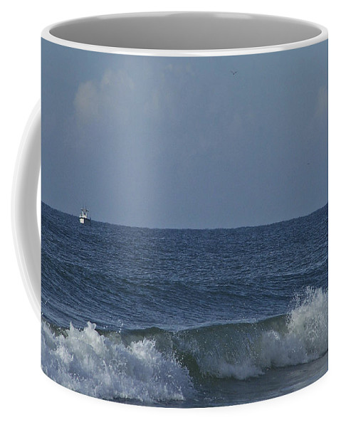 Boat Coffee Mug featuring the photograph Lone Boat On The Horizon by Teresa Mucha