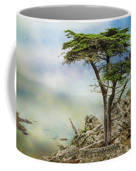 Lone Cypress Coffee Mug featuring the mixed media Lone Cypress by John Strong