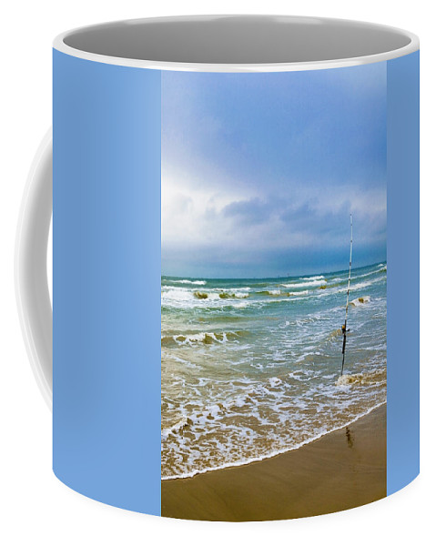 Texas Coffee Mug featuring the photograph Lone Fishing Pole by Marilyn Hunt