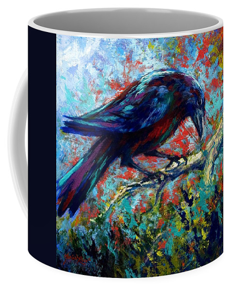 Crows Coffee Mug featuring the painting Lone Raven by Marion Rose