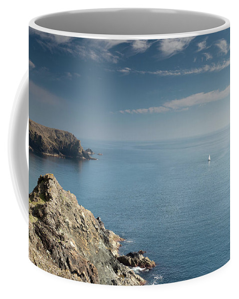 Atlantic Coffee Mug featuring the photograph Lone Sail by Dan Ransley