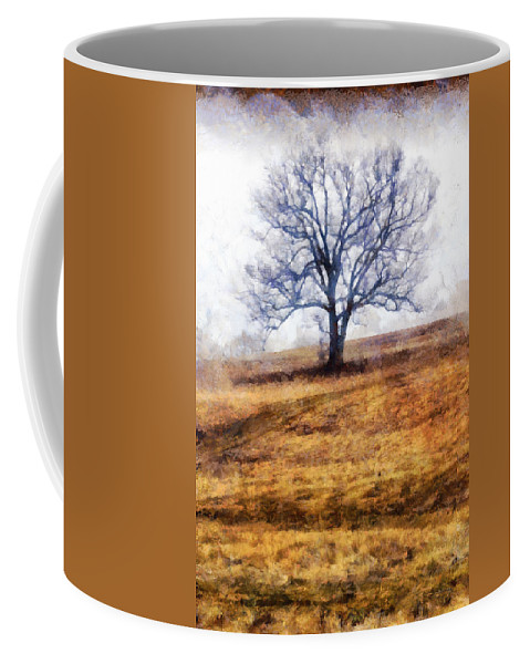 Lone Coffee Mug featuring the photograph Lone Tree On Hill In Winter by Betty Denise
