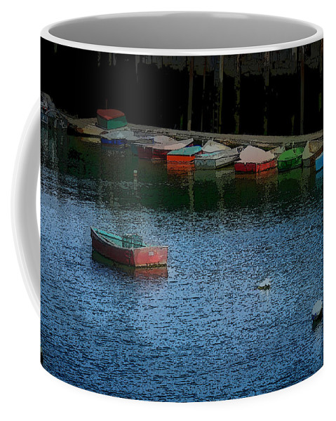 New England Boats Coffee Mug featuring the photograph Lonely Boat by Nancie DeMellia