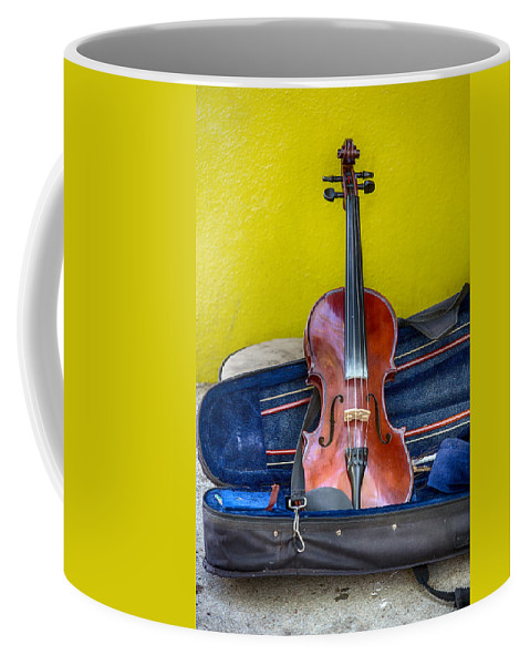 Fiddle Coffee Mug featuring the photograph Lonely Fiddle by John Haldane