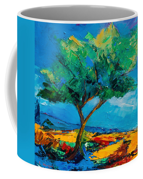 Landscape Coffee Mug featuring the painting Lonely Olive Tree by Elise Palmigiani