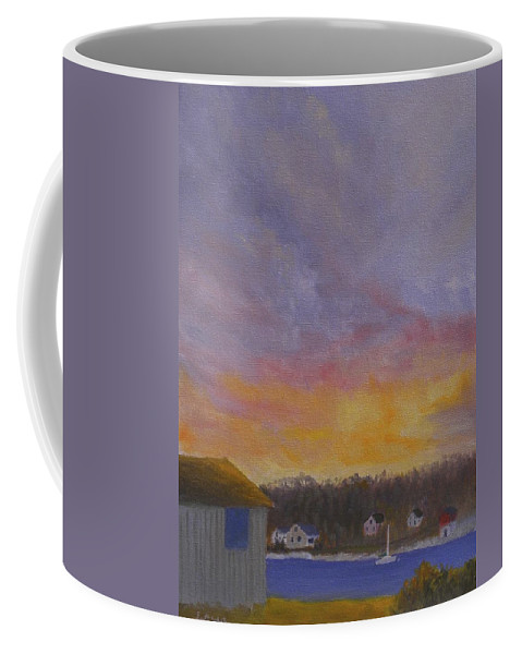 Sunrise Ocean Long Cove Maine Bristol Water Camp Sailboat Cottages Storm Clouds Chamberlain Coffee Mug featuring the painting Long Cove Sunrise by Scott W White