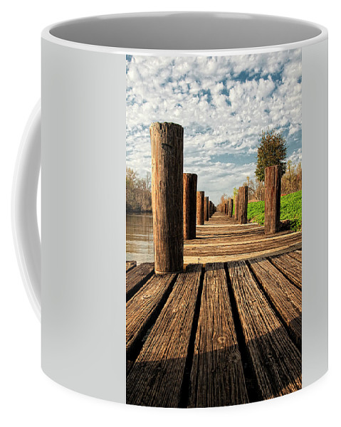 Bayou Coffee Mug featuring the photograph Long Long Way To The Bayou - Louisiana Dock by Mitch Spence
