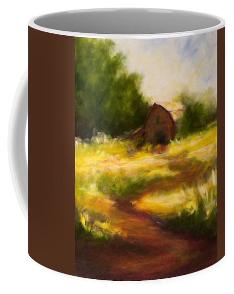 Landscape Coffee Mug featuring the painting Long Road Home by Shannon Grissom