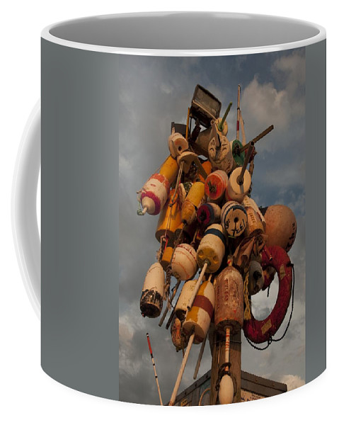 Rhode Island Coffee Mug featuring the photograph Long Wharf Buoys by Steven Natanson