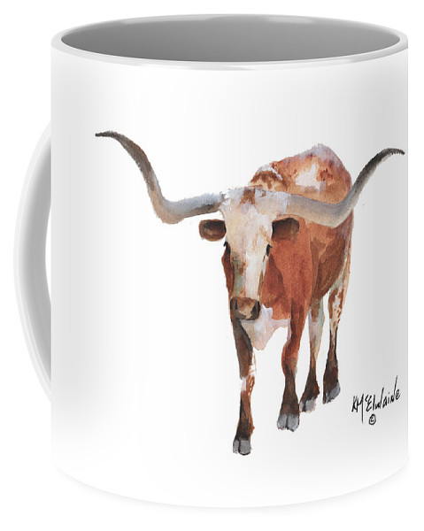 Longhorns Coffee Mug featuring the painting Longhorn 17 Big Daddy Watercolor Painting By Kmcelwaine by Kathleen McElwaine
