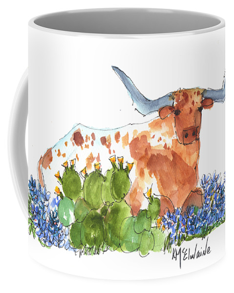 Texas Longhorn Coffee Mug featuring the painting Longhorn In The Cactus And Bluebonnets Lh014 Kathleen Mcelwaine by Kathleen McElwaine