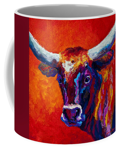 Longhorn Coffee Mug featuring the painting Longhorn Steer by Marion Rose