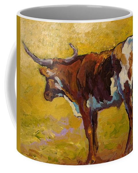 Longhorn Coffee Mug featuring the painting Longhorn Study by Marion Rose