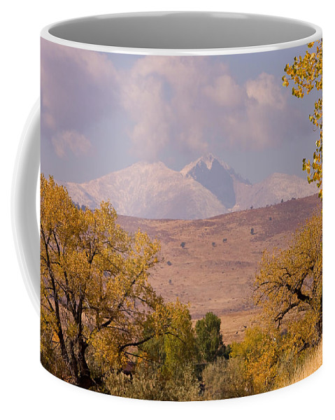 Twin Peaks Coffee Mug featuring the photograph Longs Peak Diamond Autumn Shadow by James BO Insogna