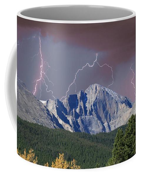 Longs Peak Coffee Mug featuring the photograph Longs Peak Lightning Storm Fine Art Photography Print by James BO Insogna