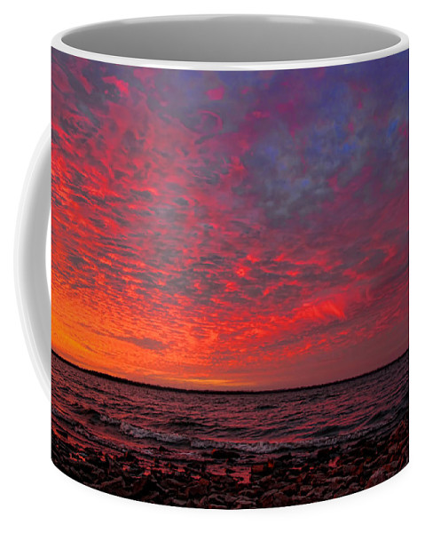 Sunset Coffee Mug featuring the photograph Looking Across At Sundown by Carolyn Fletcher