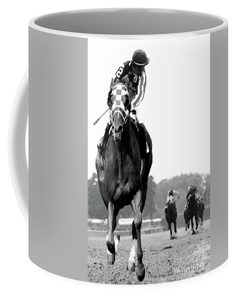 Looking Back Coffee Mug featuring the mixed media Looking back, 1973 Secretariat, stretch run, Belmont Stakes by Thomas Pollart