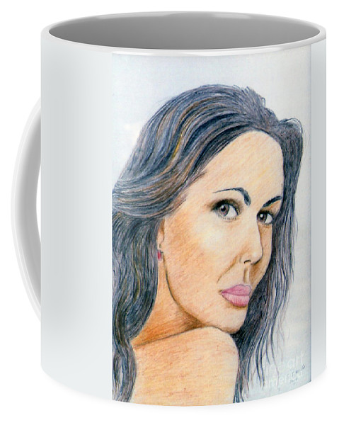 Stephen Coffee Mug featuring the drawing Looking Back by Stephen Brooks