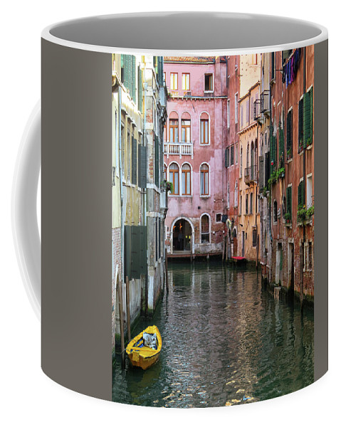 Venice Coffee Mug featuring the photograph Looking Down A Venice Canal by Dave Mills