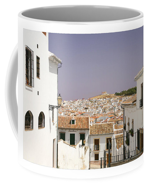 Antequera Coffee Mug featuring the photograph Looking Down Over Antequera From Near The Church Of Santa Maria La Mayor by Mal Bray