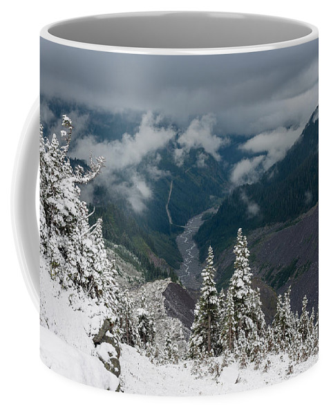 Snow Coffee Mug featuring the photograph Looking Down The Canyon by Greg Nyquist