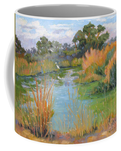 Central Valley Coffee Mug featuring the painting Looking For Lunch by Rhett Regina Owings